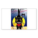 Black Cat Halloween Rectangle Sticker 50 pk)