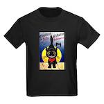 Black Cat Halloween Kids Dark T-Shirt
