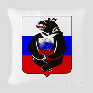 Russian Football Bear Woven Throw Pillow