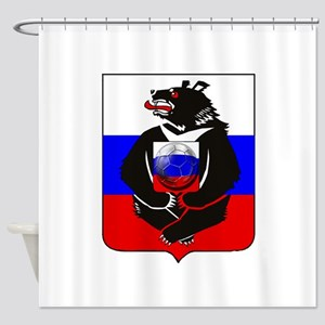 Russian Football Bear Shower Curtain