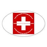 Swiss Cross/Peace Oval Sticker (10 pk)