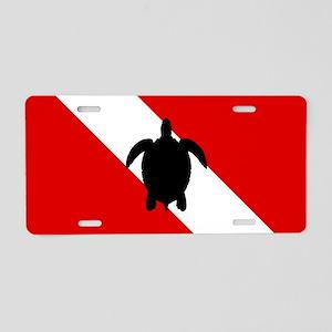 Diving Flag: Sea Turtle Aluminum License Plate