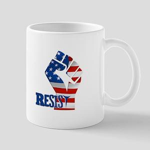 Resist Raised Fist American Flag Mugs