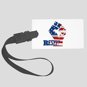 Resist Raised Fist American Flag Luggage Tag