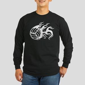 Flaming Volleyball Long Sleeve Dark T-Shirt