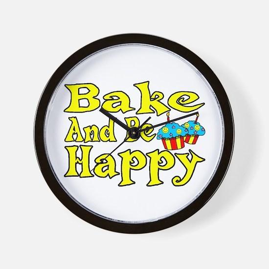Bake And Be Happy Wall Clock