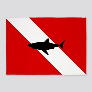 Diving Flag: Shark 5'x7'Area Rug