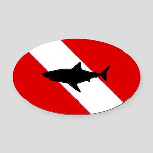 Diving Flag: Shark Oval Car Magnet