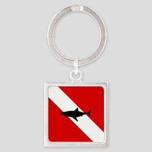 Diving Flag: Shark Square Keychain