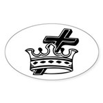 Cross and Crown Oval Sticker (10 pk)
