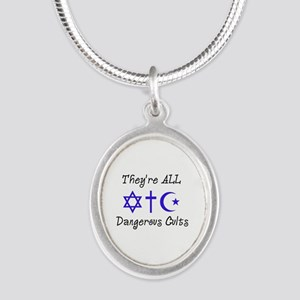 Dangerous Cults Silver Oval Necklace