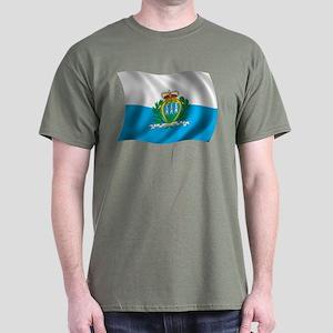 Wavy San Marino Flag Dark T-Shirt