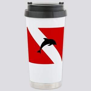 Diving Flag: Dolphin Stainless Steel Travel Mug