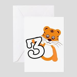 Tiger 3rd Birthday Greeting Cards