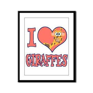 I Love (Heart) Giraffes Framed Panel Print