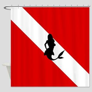 Diving Flag: Mermaid Shower Curtain