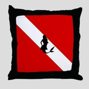 Diving Flag: Mermaid Throw Pillow