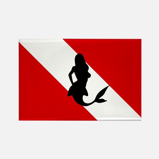 Diving Flag: Mermaid Rectangle Magnet