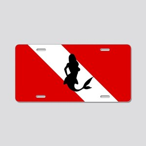 Diving Flag: Mermaid Aluminum License Plate