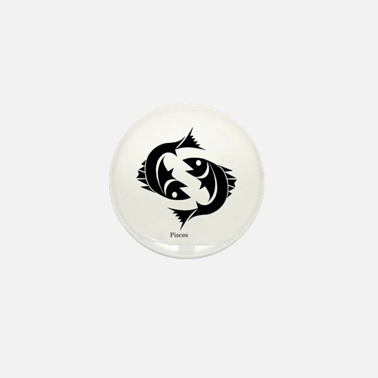 Pisces Zodiac Astrology Tattoo Mini Button