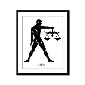 Libra Zodiac Astrology Tattoo Framed Panel Print