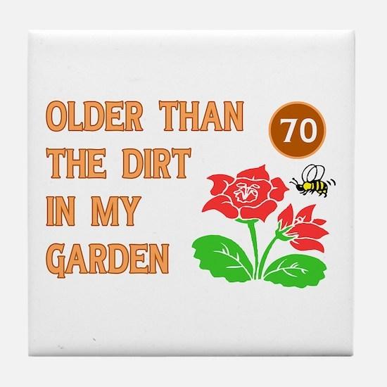 Gardener's 70th Birthday Tile Coaster
