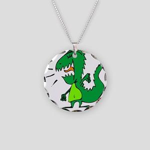 Dinosaur You Won't Like Necklace Circle Charm