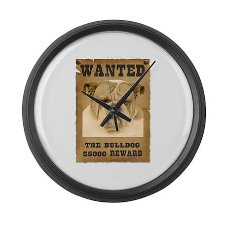 """""""Wanted"""" Bulldog Large Wall Clock"""