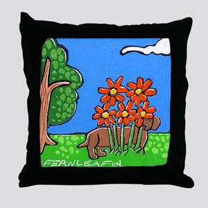 """Hiding Dachsund"" Dog Folk Art Throw Pillow"
