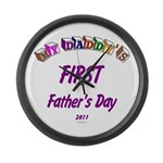 First Father's Day Large Wall Clock