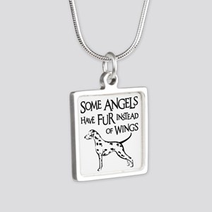DALMATIAN ANGEL Silver Square Necklace