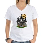 Halloween Haunted House Ghosts Women's V-Neck T-Sh