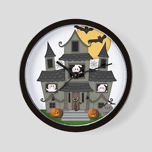 Halloween Haunted House Ghosts Wall Clock