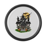 Halloween Haunted House Ghosts Large Wall Clock