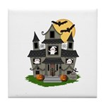 Halloween Haunted House Ghosts Tile Coaster