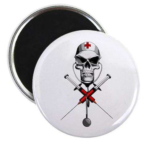 """Evil Nurse Skull 2.25"""" Magnet (10 pack)"""