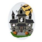 Halloween Haunted House Ghosts Ornament (Oval)