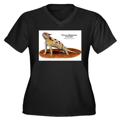 Texas Horned Lizard Women's Plus Size V-Neck Dark
