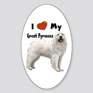I Love My Great Pyrenees Oval Sticker