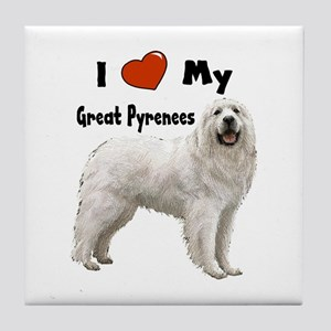 I Love My Great Pyrenees Tile Coaster