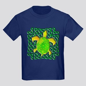 Celtic Knot Turtle (Green) Kids Dark T-Shirt