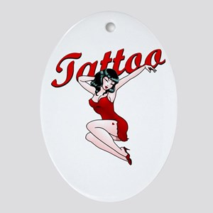 Pin-Up Girls Tattoo Oval Ornament