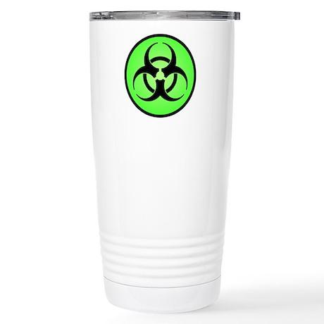 Green Biohazard Symbol Stainless Steel Travel Mug