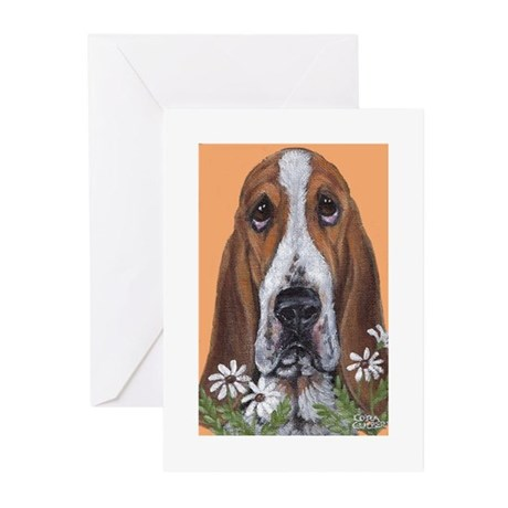 Basset Hound & Flowers Greeting Cards (Pk of 10)