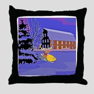 Scenic Snowmobile Christmas Throw Pillow