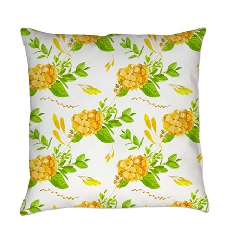 Green and Gold Floral Everyday Pillow