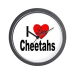 I Love Cheetahs for Cheetah Lovers Wall Clock
