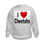 I Love Cheetahs (Front) Kids Sweatshirt