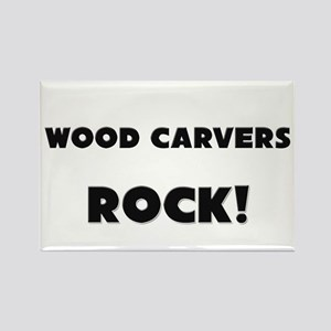 Wood Carvers ROCK Rectangle Magnet