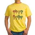 Captioned SIGN BABY SQ Yellow T-Shirt